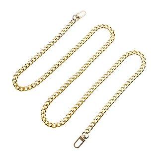 BESTOYARD Handtaschenketten Metallgeldbeutelriemen Schulter Cross Body Ersatzriemen Tasche Eisen Flache Kette (Gold)