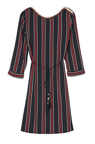 Robe femme à rayures col bateau et ouverte dans le dos Graham (ceinture offerte) – Manches 3/4 – Cherry Paris – Disponible en 2 couleurs : Bordeaux Ecru Rouge