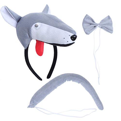 r Kostüme Set Wolf Kopf Stirnband mit Ohren Tier Schwanz Fliege für Karneval Coaplay Party Kostüme 3 Stück (Grau) ()