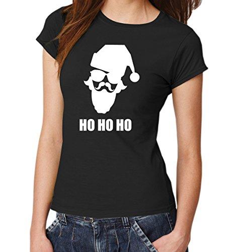 ::: HO HO HO ::: T-Shirt Damen Schwarz mit weißem Aufdruck