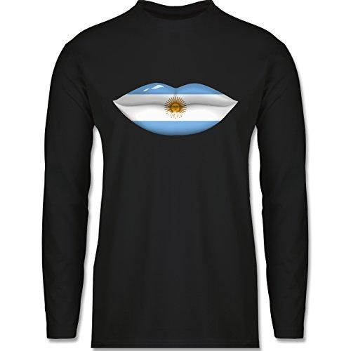 Länder - Lippen Bodypaint Argentinien - Longsleeve / langärmeliges T-Shirt für Herren Schwarz