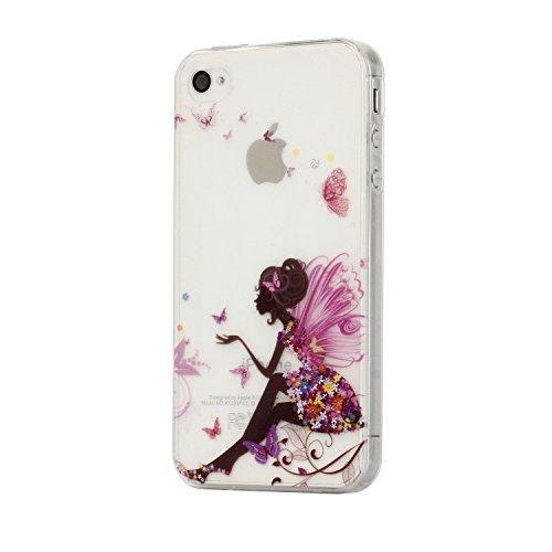 Für iPhone 4 4S Hülle Fall , IJIA Blume Mädchen Flügel Schmetterling Weich TPU Case Durchsichtig Schutzhülle Silikon Crystal Transparent Cover Hülle für Apple iPhone 4 4S + 24K Gold Aufkleber