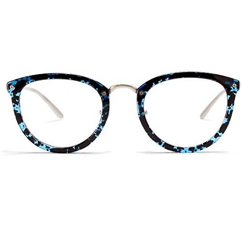BXGZXYQ Mode Retro Square Brille, Brillengestell mit klarer Linse Komfortable Anti-Müdigkeit (Farbe : Blau)