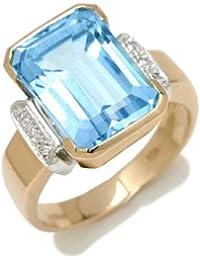 Gioie Bague Femme en Or 18 carats Blanc/Jaune avec Topaze Bleu et Diamant H/SI (total diamants 0.04 ct)