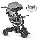 besrey Dreirad 7 in 1 Kinderdreirad Kinder Dreirad mit drehbarem Sitz lenkbarer Schubstange Sonnendach ab 6 Monate bis 6 Jahre mit Regenschutz - grau