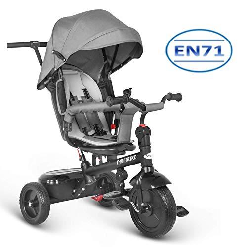 besrey 7 en 1 Tricycle Poussette Vélo Evolutif Multifonctionnel pour Enfants avec Roues Silencieuses et la Tige-Poussoir Directionnelle - 6 Mois à 6 Ans - Gris