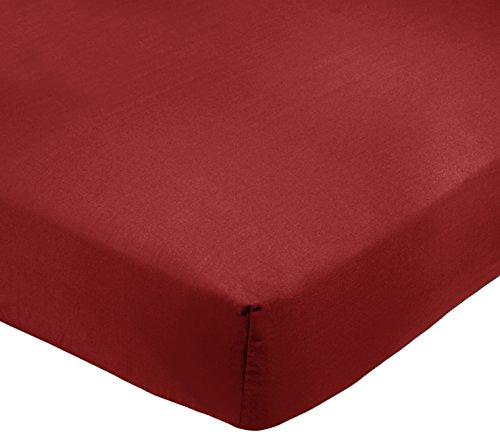 AmazonBasics - Lenzuolo king con angoli, Policotone 200 fili, bordeaux - 200 x 200 x 30 cm