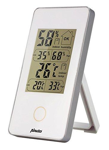 Alecto Wetterstation Innen, Temperatur, Hygrometer, weiß, 6.2 x 10 x 10 cm, WS-75