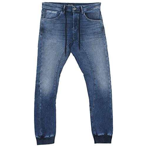 JACK & JONES Herren Jeans-Hose JJISimon JJClay Cuff Antifit Jogg-Jeans mit Kordel-Zug, Farbe:Blau, Weite/Länge:33/34