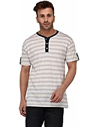 The Dry State Men's Cotton Multi Stylish Striped Henley Half Sleeves Tshirt X10-$P