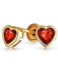 Bling Jewelry Simulated Garnet January Birthstone CZ Heart Baby Safety Stud earrings 14k Gold 4mm