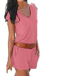 Minetom Donna Scollo a V Tuta Corta Pagliaccetto Elegante Estivo  Pantaloncini Jumpsuit e6a0c0d6dd2