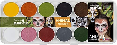 Kostüm Kinderschminken Hunde Für - Hesse & Voormann Aqua Malkasten Animal Tiere 10 Farben mit Pinsel und Schwämmchen Make Up Tiergesichter