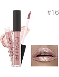 Kolylong Fashion Lipstick Cosmetics Women Sexy Lips Metallic Lip Gloss (A)