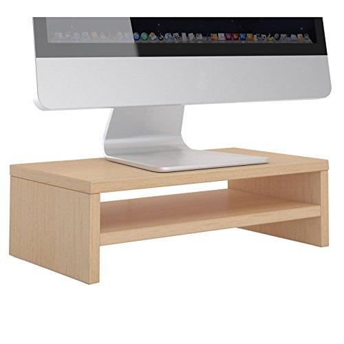 CARO-Möbel Monitorständer SUBIDA Bildschirmaufsatz Schreibtischaufsatz Bildschirmerhöhung mit Ablagefach, in buchefarben -