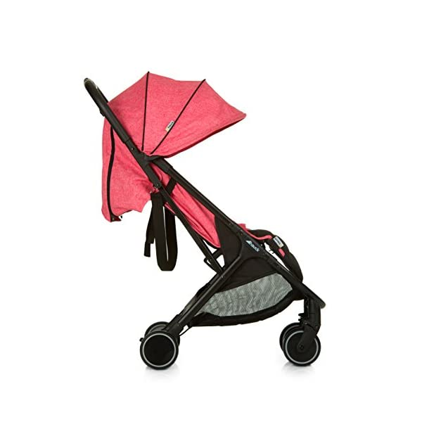 Hauck Swift One Hand, Compact Fold Pushchair with Raincover, Melange Pink/Black Hauck A sporty stroller with one-hand folding mechanism The comfortable seat has an adjustable backrest and adjustable footrest down to lying position - ideal even for newborns Lightweight aluminium frame - only 6.4kg 3