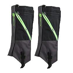 Generic 1 Pair Waterproof Snow Legging Boot Gaiters Leg Covers Rugged Outdoor Walking Hiking Climbing - Black Grey