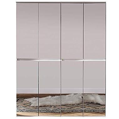 Trendteam smart living Garderobe Garderobenschrank Schrank Mirror, 148 x 191 x 34 cm in Korpus und Front Weiß Melamin Absetzung Spiegel mit viel Stauraum
