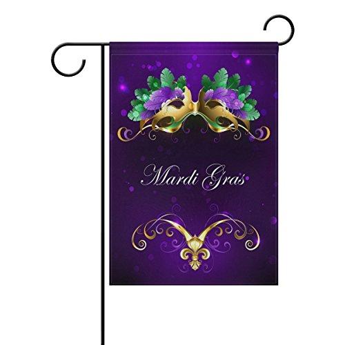 ALAZA Doppelseitiges Mardi Gras Gold Maske von grünen und lila Federn Polyester Haus Garten Fahne Banner 30,5 x 45,7/71 x 101,6 cm für Hochzeit Party Allwetter, Polyester, Multi, 12x18 (Gras Mardi Federn)