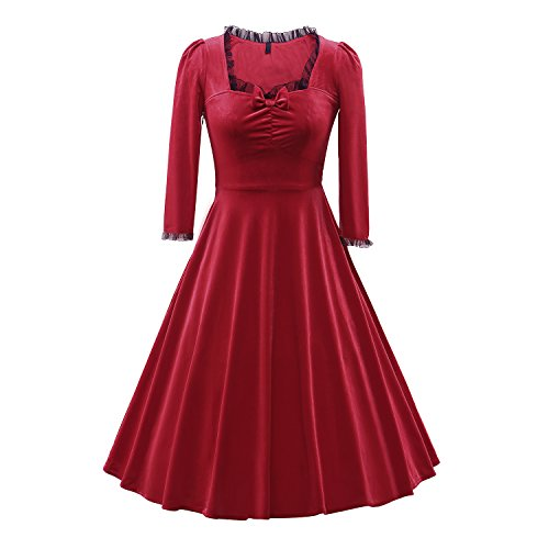 Kostüme 1940's Damen (iLover Womens Weinlese 3/4 Hülsen Retro Kleid Rockabilly Partei Cocktail Schwingen Kleid der Fünfzigerjahre Rot)