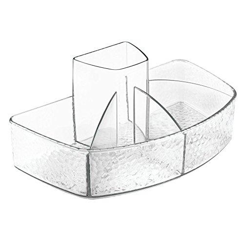 InterDesign Rain organizador maquillaje con 5 compartimentos | El organizador se puede utilizar como joyero u organizador de collares | Plástico transparente