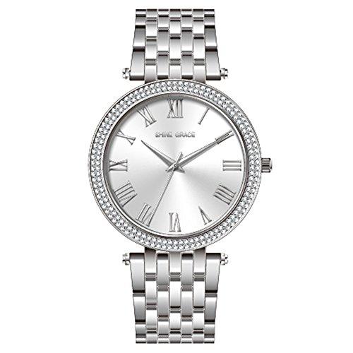 Glanz Grace 39mm Damen Armbanduhr römischen Ziffern alle Edelstahl alle Kleid Silber Armbanduhr mit Swarovski Kristall für Frauen Damen Mädchen auf Verkauf (Verkauf Für Kleider Auf Kinder)