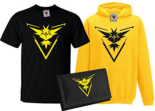 r Team Instinct T-Shirt, Kapuzenpullover & Wallet Set (Gelb, 9-11 Years) (Pikachu In Einem Hoodie)