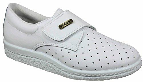 Postigo 1 -Zapato Sanitario Anatómico Velcro Piel Unisex (41 EU, Blanco)