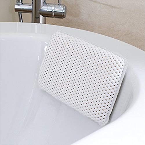 Wokee Komfort Badewanne Badewannenkissen mit 8 Saugnäpfen, 29x20 cm, für Badewanne Nackenkissen Wannenkissen in Weiß