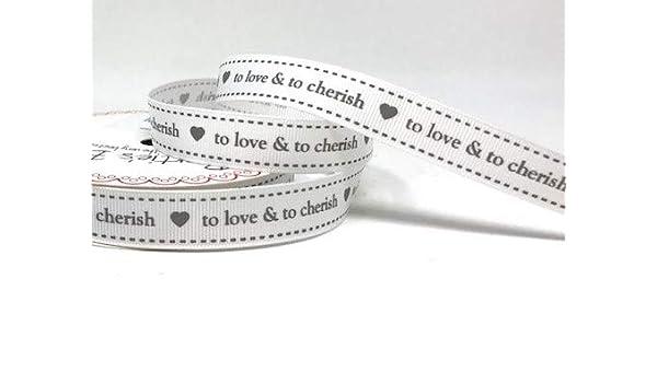 "Bertie/'s Bows 16mm White /& Grey Grosgrain /""To Love /& To Cherish/"" Ribbon Wedding"