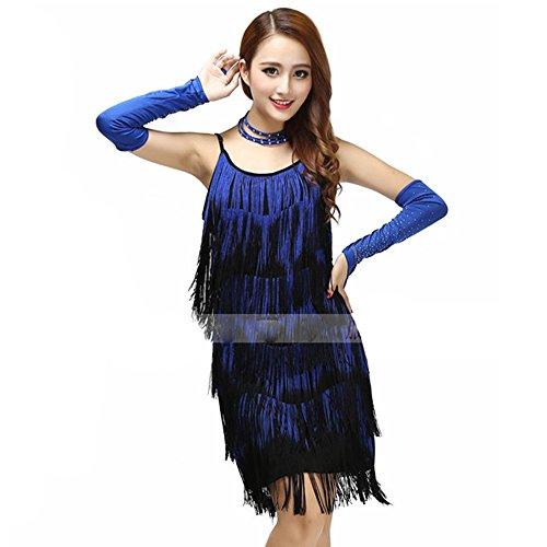uchtanz Kostüm Für Frauen Quasten Bauchtanz Outfit Blau Rot Quasten Latin Dance Kleid Rock Kostüm Body Pailletten Kurzen Rock Leistung Kostüm,Blue (Tango Tänzer Halloween Kostüm)