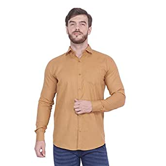 FnX Men's Cotton Plain Full Sleeves Shirt for Office and Casual Wear (FnX057 Solid)