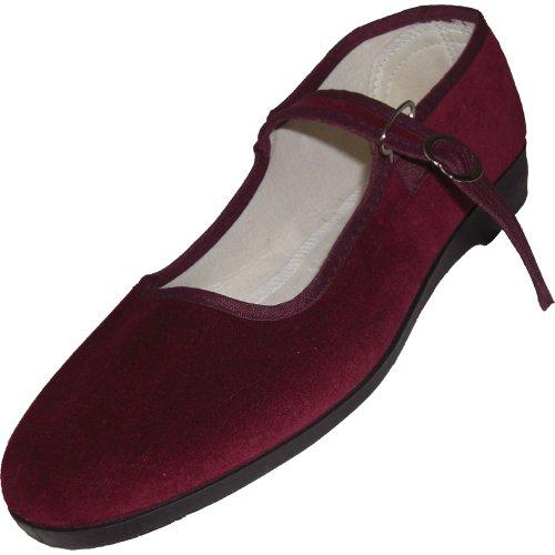 Cina scarpe di velluto numeri 33-42 vari colori Bordeaux