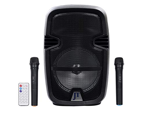 JT 8 inch Professional Karaoke Bluetooth PA System Portable Rechargeable Speaker with 2 Wireless Microphone, Remote Control, AUX/TF/USB/FM # 60W. W/o Trolley