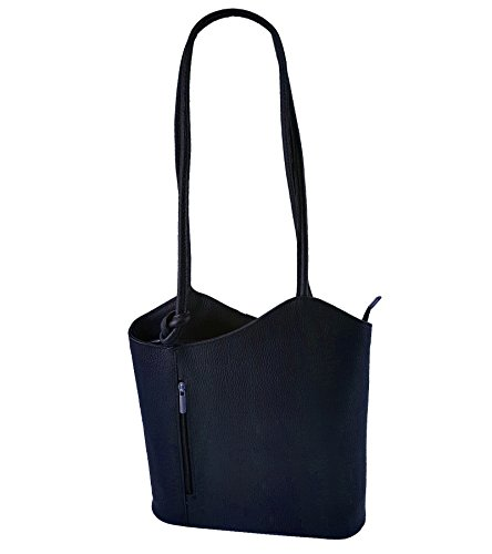 Freyday 2 in 1 Handtasche Rucksack Designer Luxus Henkeltasche aus Echtleder in versch. Designs (Glattleder Dunkelblau)