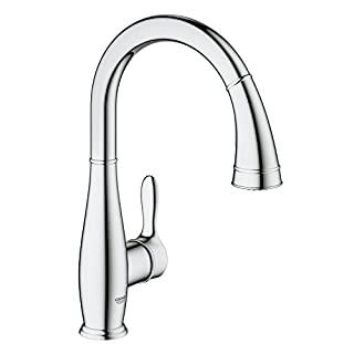GROHE 30215000 Parkfield Kitchen Tap (360 Degree Swivel Range, High Spout, Pull-Down Comfort Spray Head and Starlight)