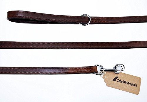 Schnüffelfreunde Guinzaglio per Cani in Pelle | Guinzaglio per Cane in Cuoio da Passeggio - Taglia Piccola a Media (180cm, Marrone)