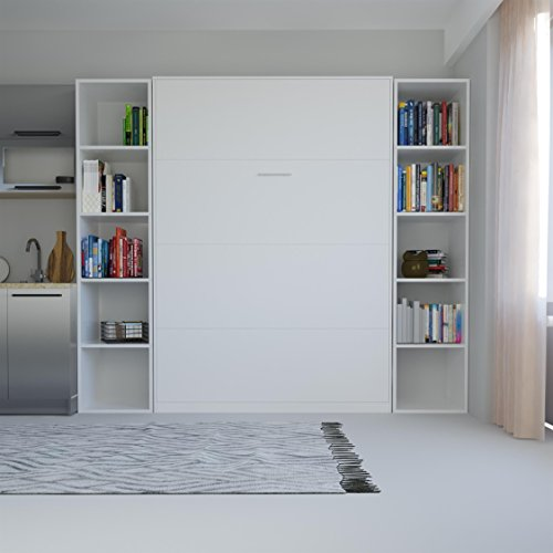 SMARTBett Basic 140×200 Vertikal Weiss Schrankbett | ausklappbares Wandbett, ideal geeignet als Wandklappbett fürs Gästezimmer, Büro, Wohnzimmer, Schlafzimmer - 2