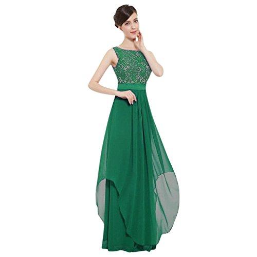 TIREOW-Damen Kleider Sommer Dünne Schulterfrei Ärmelloses Schlinge Taschen Unregelmäßig Partykleid Strandkleid Abendkleid (Grün, 2XL)