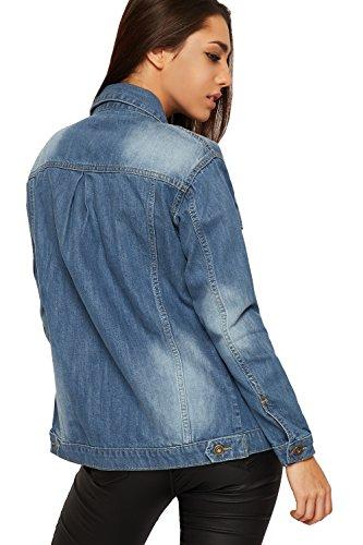 Wearall - Femmes Toile De Jean Biker Veste Dames Bouton Poche Longue Manche Manteau Haut Stonewashed - 36-42 Bleu