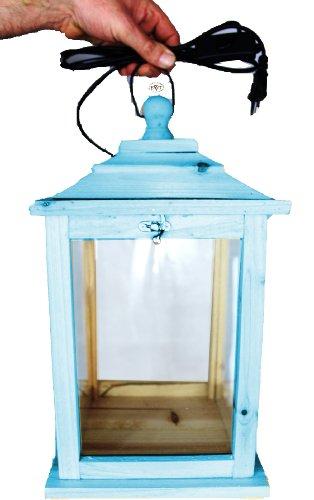 Süße Holzlaterne, als Glasvitrine mit Beleuchtung, mit Glas und Holz - Rahmen, KL-OFOS-BLAU aus Holz groß Holz amazon blau marineblau hell