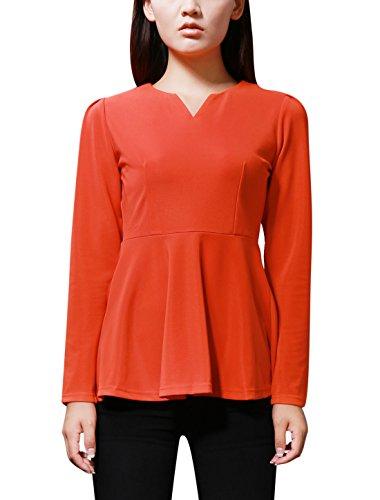 Sourcingmap - Blouse ajustée longues manches pour femmes Orange