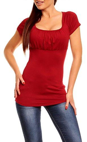 Glamour Empire. Donna. Top di maglina. T-shirt aderente maniche corte. 005 (Cremisi, IT 42, L)