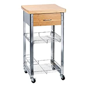 Relaxdays Kitchen Trolley Cart With 4 Wheels Bamboo Worktop And Metal Baskets