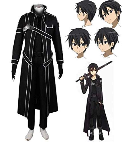 Sword Art Online SAO Kirito Uniform Cosplay Costume and Wig in Size XL (Perücken Online Billig Kostüm)