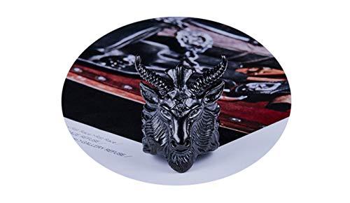 Beydodo Titan Ring Männer Ziege Totenkopf Schädel Vintage Punk Ring Schwarz Freundschaftsring Größe 57 (18.1) - Schädel-ringe-titan