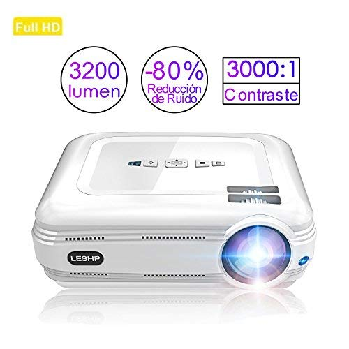 LESHP Projector, 1080p Full HD Projector - Mini Portable Projector with HDMI/VGA/AV/USB PC Computer Xbox TV Compatibility