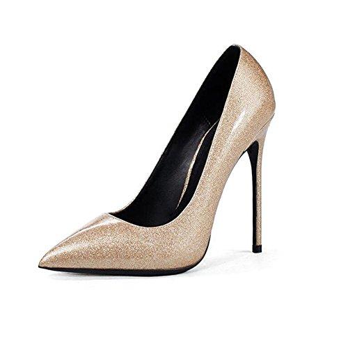 YIXINY Escarpin G0212 Chaussures Femme PU De Haute Qualité + TPR Pointu La Bouche Peu Profonde Talon Mince 10 / 12cm Talons Hauts D'or