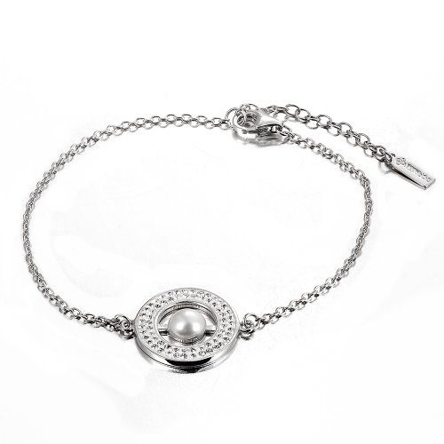 Plata de ley 925 pulsera diamante checo y perla natural