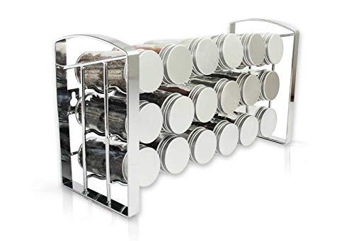 Gewürzregal Gewürz (LEANDER DESIGN Gewürzregal für Küchenschrank und Arbeitsfläche, 18 Gewürzgläser, Küchen-Organizer auf 3 Ebenen - Silber)
